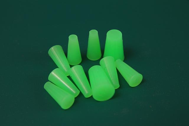 画像2: シリコン・ゴム栓グリーン10 大径10mm-小径7mm 6個入